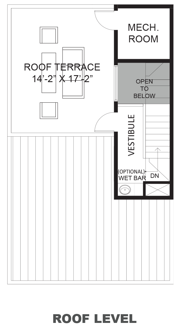 Hawthorne Avenue Townhomes - Plan A, Roof terrace