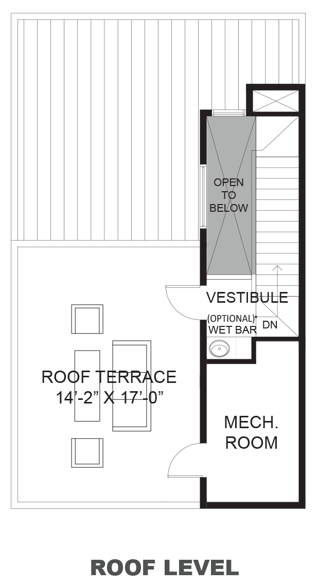 Hawthorne Avenue Townhomes - Plan B, Roof terrace