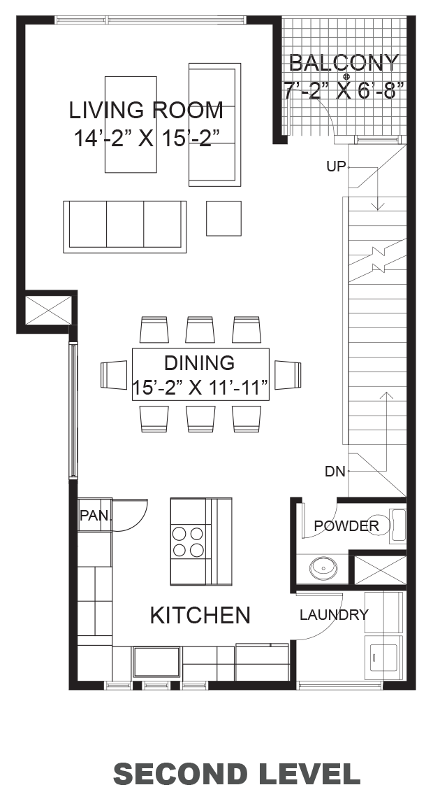 Wall Street Townhomes Phase II - Plan A, Second floor