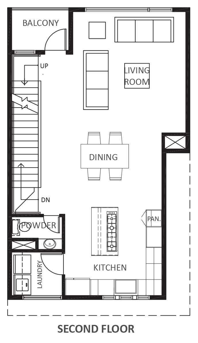 Wall Street Townhomes Phase II - Plan C, Second floor
