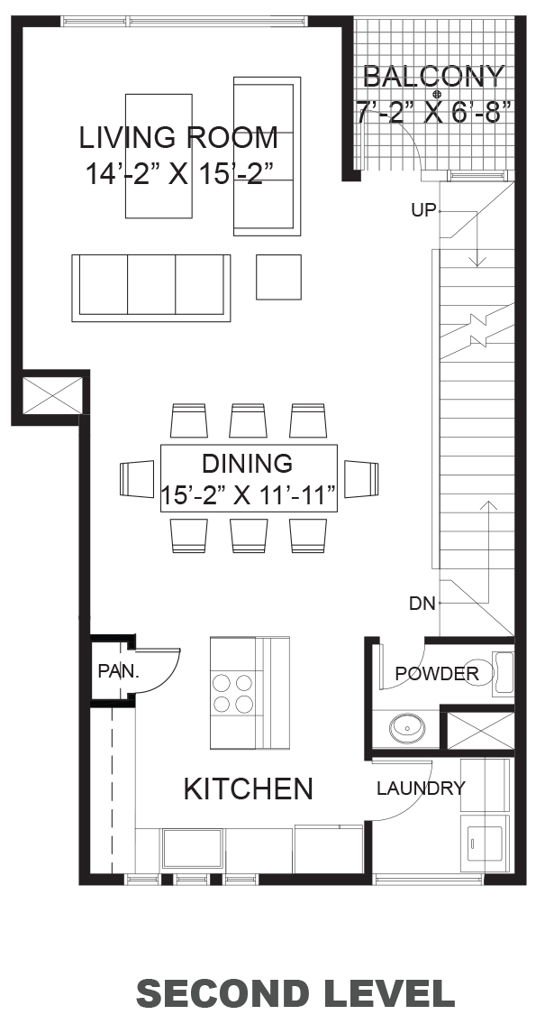 Wall Street Townhomes - Plan A, Second floor