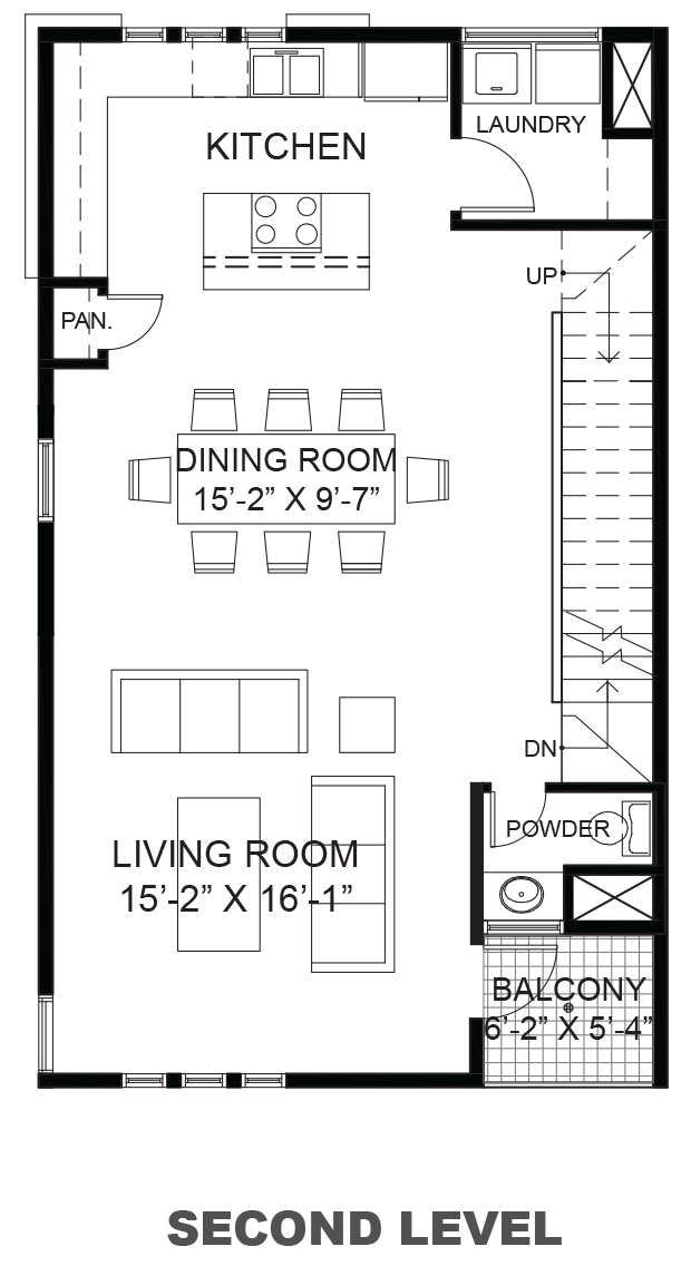 Wall Street Townhomes - Plan B, Second floor
