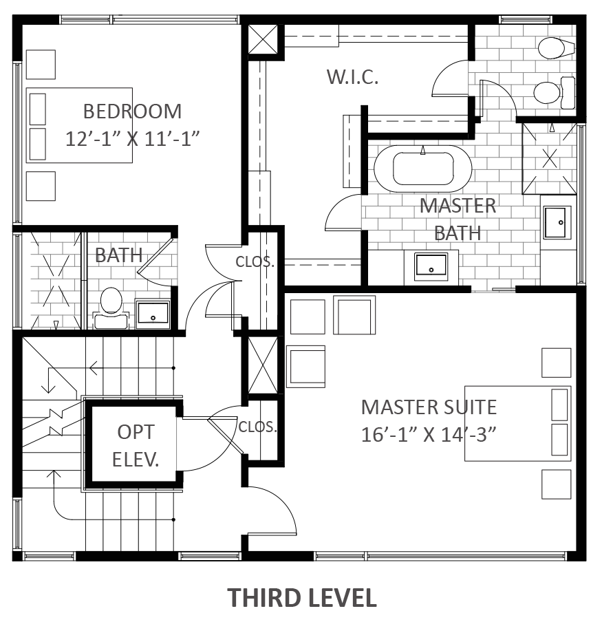 Lofts on West Bell - Plan A2, Third floor