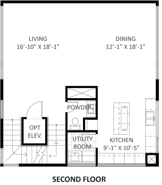 Lofts on West Bell - Plan A3, Second floor