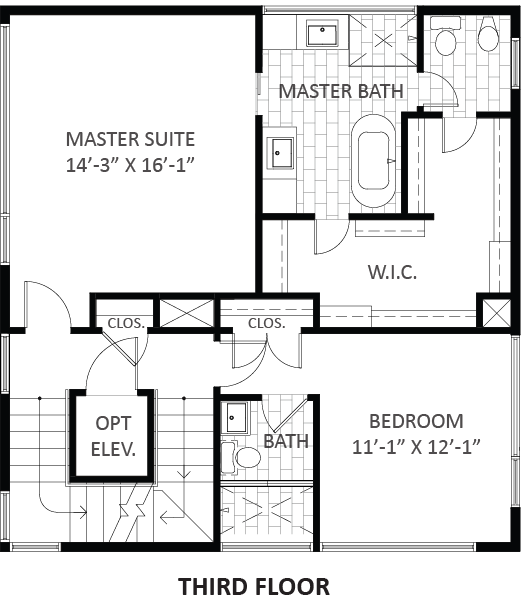 Lofts on West Bell - Plan A3, Third floor